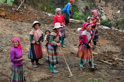 Značilna slika med gorskimi plemeni: ženske z majhnimi otroci na hrbtu obdelujejo polja