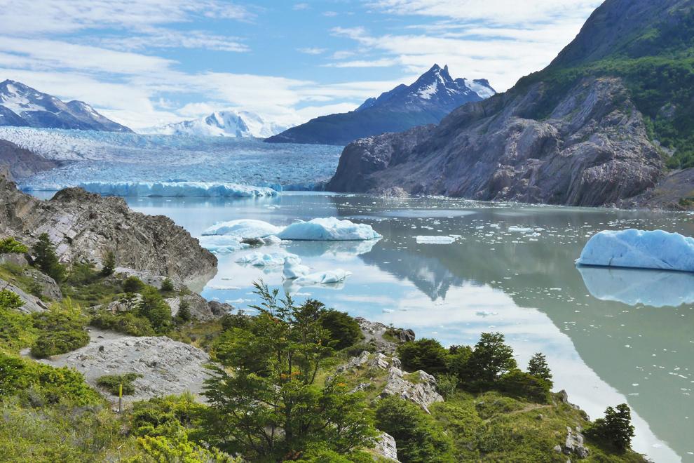 Odsevi jezera ob ledeniku Grey