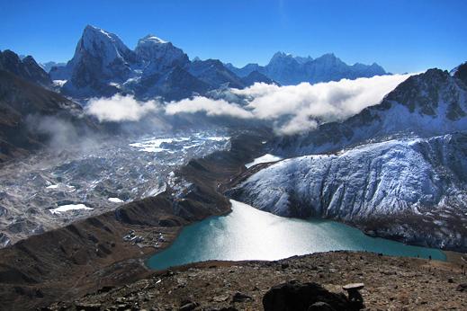 Treking Everest - Ledenik in stranska dolina Gokijskih jezer.