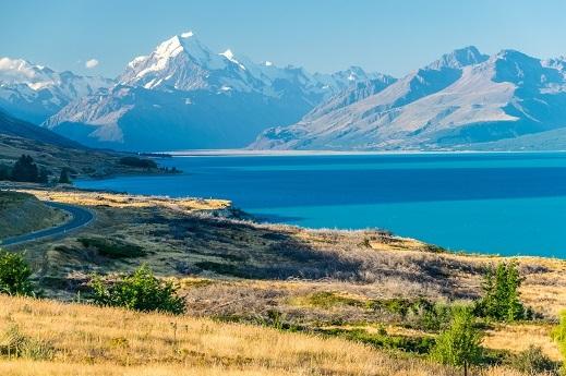 Divje jezero Pukaki in Mount Cook v ozadju