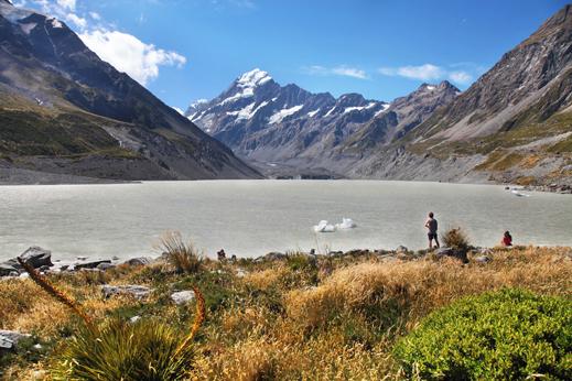 Slikovite poti pod Mt. Cookom (3724m), najvišjo goro Nove Zelandije, ki leži v Južnih Alpah.