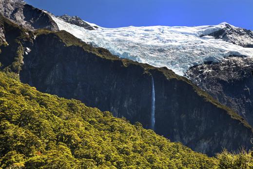 Ledenik Rob Roy, treking v nacionalnem parku Mt. Aspiring.