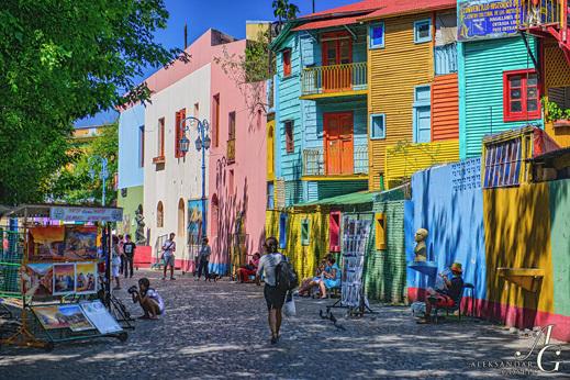 Buenos Aires - Barvita ulica Caminito v četrti La Boca.