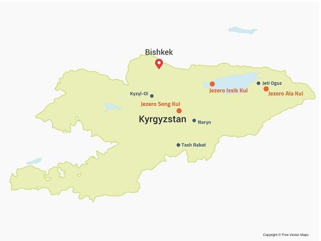 kirgizija zemljevid